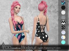 Bodysuit (pattern) in 9 colors  Found in TSR Category 'Sims 4 Female Everyday'
