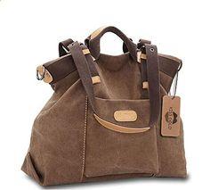 Kiss Gold Tm Women S Casual Canvas Top Handle Bag Shoulder Coffee