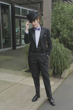 Our model felt SO fancy in this black tailcoat, opera vest, and of course, top hat! All available for rental at Mr. Formal! Suit Rental, Vest And Tie, Tuxedo, Opera, Felt, Fancy, Suits, Formal, Model
