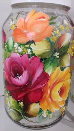 Recycled Glass Bottles, China Painting, Botanical Art, Mason Jars, Glass Vase, Hand Painted, Colours, Creative, Flowers