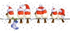 Christmas birds on a wire  ....Gillian Roberts