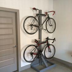 17 Amazing Bike Storage Ideas You Just Have To See beautiful bike storage ideas. 17 Amazing Bike Storage Ideas You Just Have To See beautiful bike storage ideas for those biking l Hanging Bike Rack, Wood Bike Rack, Indoor Bike Rack, Diy Bike Rack, Bicycle Rack, Diy Rack, Bike Storage Cabinet, Bike Storage Rack, Garage Bike Storage