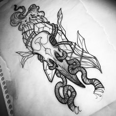 Sage/crystal/raven skull . . . . #tattoo #tattoos #darktattoos #neotrad #neotraditional #neotraditionaltattoo #phillytattoo…