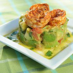 Avocado chopped salad with shrimp