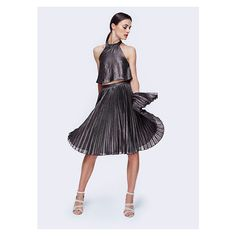 Fame&Partners Two Piece Pleated Gunmetal Krissa Two Piece Dress ($174) ❤ liked on Polyvore featuring dresses, gunmetal, halter evening dress, halter top, evening cocktail dresses, halter dress and halter cocktail dress