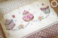 Cross stitch blog, Veronique Enginger designs ''Patissier'' Cross Stitch Pillow, Cross Stitch Books, Cross Stitch Love, Cross Stitch Needles, Cross Stitch Designs, Cross Stitch Patterns, Knitting Stitches, Embroidery Stitches, Embroidery Patterns