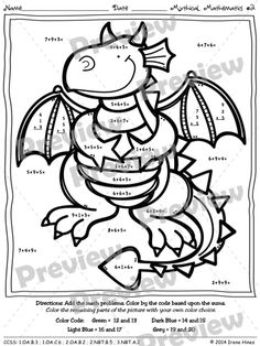 Mythical Math ~ Three Addends ~ Color By The Number Code Addition Puzzle Printables ~This Color By Number Unit Is Aligned To The CCSS. Each Page Has The Specific CCSS Listed.~ This set includes 4 math puzzles ~ Adding 3 Addends. $