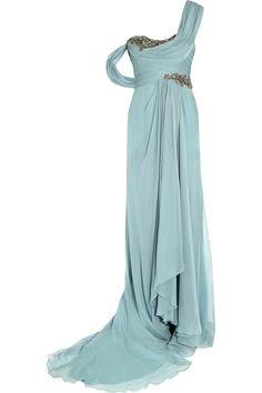 Marchesa|One-shoulder embellished silk-georgette gown|NET-A-PORTER.COM