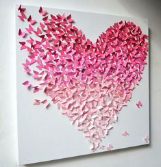 Wall art diy paper valentines day ideas for 2019 Butterfly Wall Decor, Cute Butterfly, Origami Butterfly, Origami Heart, Butterfly Canvas, Diy Paper, Paper Crafts, Diy Crafts, Paper Art