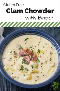 Gluten Free Clam Chowder with Bacon is the perfect way to warm up during the winter! Creamy, hearty and flavorful, it is the perfect soup! via @glutenfreemiami