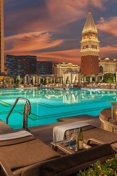 The Venetian has three pools designed to suit a variety of travelers, from families to party-goers. #Jetsetter