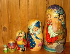 Russian 5 UNIQUE  Nesting dolls Fairy Tale The Princess and the Pea signed GIFT