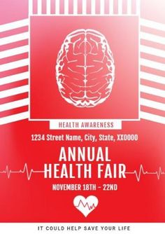 A promotional poster template. A red background image with white text displaying Health Awareness annual health fair.