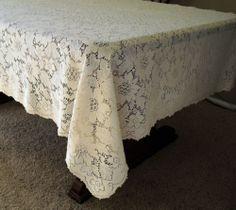 Vtg Ecru Cotton Quaker Lace Tablecloth Tag 800 Heavier Weight Picot Edges  72x55   EBay