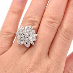 1960s Marquise Round Cluster Diamond platinum Cocktail Ring In Excellent Condition For Sale In Miami, FL