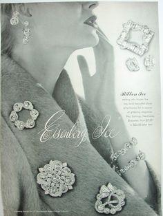 1953 EISENBERG Ribbon Ice PINS Earrings Bracelets RHINESTONES Jewelry Vintage Ad