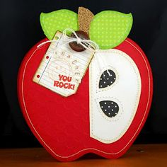 Teacher You Rock shaped apple card by Melyssa Connolly, apple shape from Whimsie Doodles, stamps from PSA Essentials