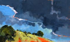 art painting landscape trees clouds storm hill acrylic North Downs ...