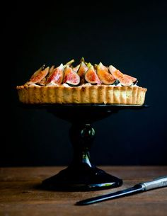 Fig, Mascarpone, and Pistachio Tart via Desserts for Breakfast blog