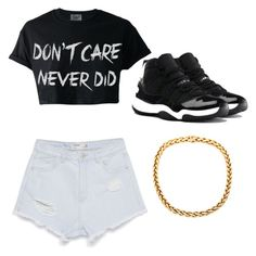 """""""I'm just into crop tops and high wasted shorts and I love my shoes to be and just add a gold chain because fashion"""" by angelapendery on Polyvore"""
