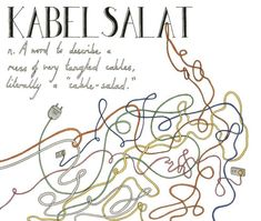 "Kabelsalat (German): A word to describe a mess of very tangled cables, literally a ""cable-salad.""   