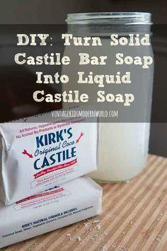 DIY Turn Solid Castile Bar Soap Into Liquid Castile Soap : Vintage Kids   Modern World
