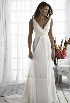 Vestido+de+novia+Diosa+vestido+de+novia+Escote+en+V+Plata+Imperio+Imperio+Cintura