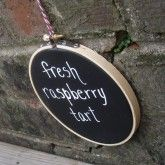 chalkboard embroidery hoop sign