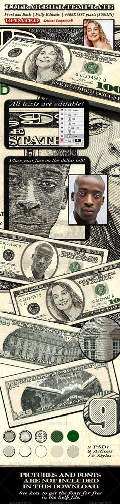 Buy Dollar Bill Template - Front and Back by MaxwellCoelho on GraphicRiver. A fully editable dollar photoshop template. You can customize ALL texts, signatures, values, codes, pictures keeping . Money Template, Bill Template, Templates, Photoshop Tutorial, Photoshop Actions, Adobe Photoshop, 2 Dollar Bill, Money Bill, Engraving Illustration