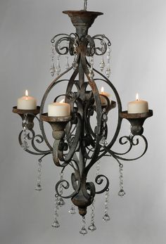 cool chandelier for above my seating area outside. Again a chandelier I would love to have. Metal Chandelier, Chandelier Lighting, Hanging Candle Chandelier, Closet Chandelier, Bathroom Chandelier, Cheap Chandelier, Hanging Lanterns, Save On Crafts, Gothic House