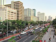 Roxas Boulevard runs along Manila Bay south of downtown Manila, the Philippines. Manila, Philippines, Street View