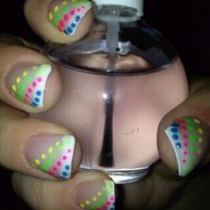 Bright polka dot nails
