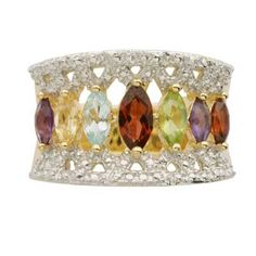 Marquise-Cut Multi-Gemstone Ring in Sterling Silver with 18K Gold Plate