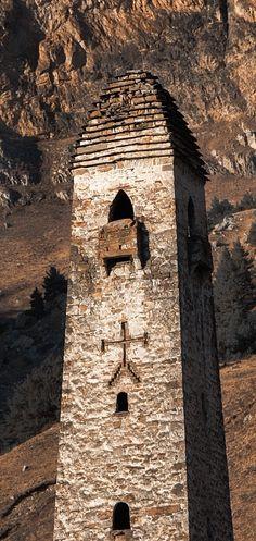 Abandoned medieval watchtowers in North Caucasus republic of Ingushetia (Russia). By Abdullah Bersaev. Caucasian People, Adventure Travel, Abandoned, Georgia, Medieval, Russia, Legends, Castle, Tower