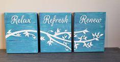 Teeniest bathroom signs 😁 #smallbathroomdecor #homedecor #woodensigns #handmadewithlove❤ #custommade #tealwashed #relax #refresh #renew… Bathroom Signs, Serendipity, Wooden Signs, Cricut, Relax, Handmade, Instagram, Ideas, Home Decor