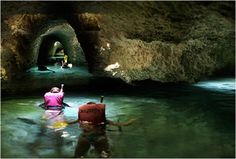 Underwater caves in Xcaret, Mexico