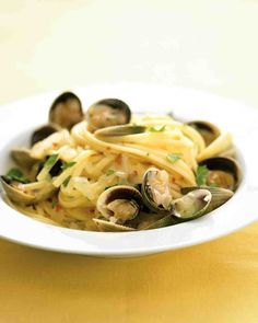 Linguine with White Clam Sauce - mom uses a lot more butter & no wine. Occassionally no seasoning aside from garlic.