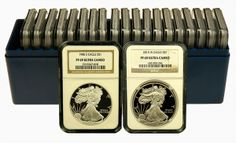 Here we have a complete set of every date issued for Proof Silver American Eagles ranging from 1986-2015. This set contains one example from each regular issue struck by the U.S. Mint since 1986 for a total of 29 coins. There is one  exception for the 2009 date, which was not issued.  Every coin has been certified by NGC to be in Proof 69 near-perfect condition.
