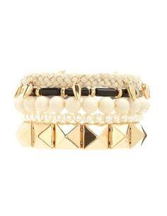braid, pearl & spike bracelet set