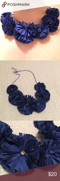 J.Crew blue flower necklace w/ rhinestones Actually from J.Crew crewcuts kids line, though I wear this necklace and own it in a few colors! Adds a fun element to any outfit. J. Crew Jewelry Necklaces