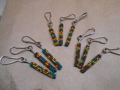 Handmade beaded tubular peyote stitch Zipper Pull Green Orange Brown assorted design pattern choices