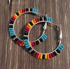 Navajo Native American Beaded Blue 1 Wide Hoop Powwow Earrings in Jewelry & Watches, Ethnic, Regional & Tribal, Native American Beaded Earrings Patterns, Seed Bead Earrings, Simple Earrings, Beaded Jewelry, Crochet Earrings, Hoop Earrings, Bracelet Making, Jewelry Making, Bead Earrings