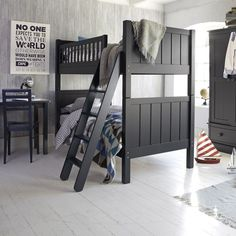 Unique Dark Grey Wooden Bunk Beds using Interesting Ladder inside Wide Bedroom with Oak Flooring