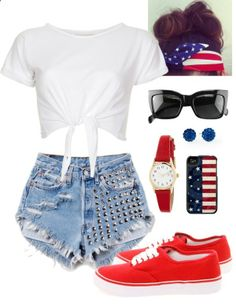 Fourth of July outfit idea  by sarahnaomixo on Polyvore---- love the hair piece