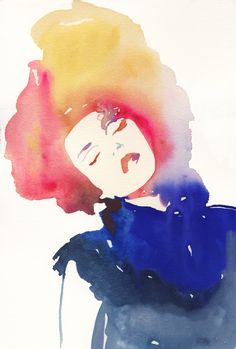 Giclee Print of Watercolour Painting, Fashion Illustration. Titled - Modelink4. $35.00, via Etsy.