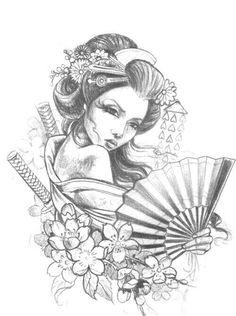 "Képtalálat a következőre: ""japanese geisha tattoo"" Geisha Tattoos, Geisha Tattoo Design, Japanese Drawings, Japanese Tattoo Art, Japanese Tattoo Designs, Geisha Drawing, Geisha Art, Geisha Makeup, Japanese Geisha"