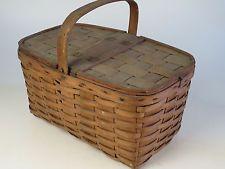 Antique Picnic Harvest Lunch Shopping Basket Toto Dog ORIGINAL OLD