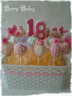 Pretty in Pink Cake Pops, by Berry Bakes
