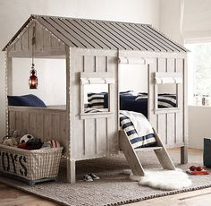 RH baby&child's Cabin Bed:We combined charming cabin detailing with… Cabin Beds For Kids, Restoration Hardware Baby, Rh Baby, Baby Boy, Bed Lights, Diy Bed, Diy Cabin Bed, My New Room, House Beds