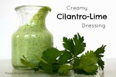 Creamy Cilantro-Lime Dressing. Healthy and great on salads, wraps, tacos, or a fun, flavorful veggie dip